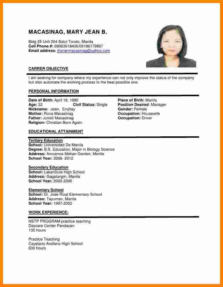 Cv Format Sample | mobile discoveries
