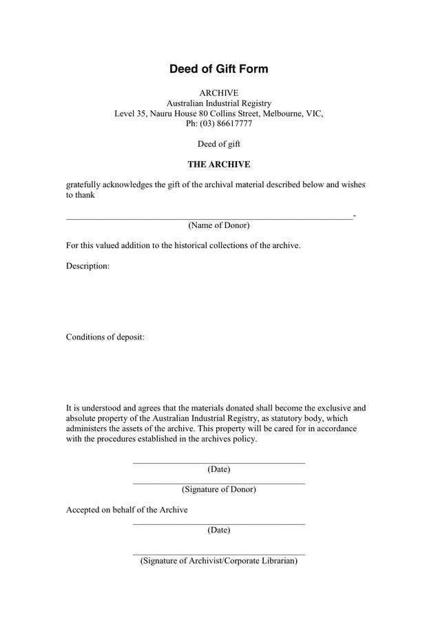 13 Sample Deed of Gift Forms – Samples, Examples & Format | Sample
