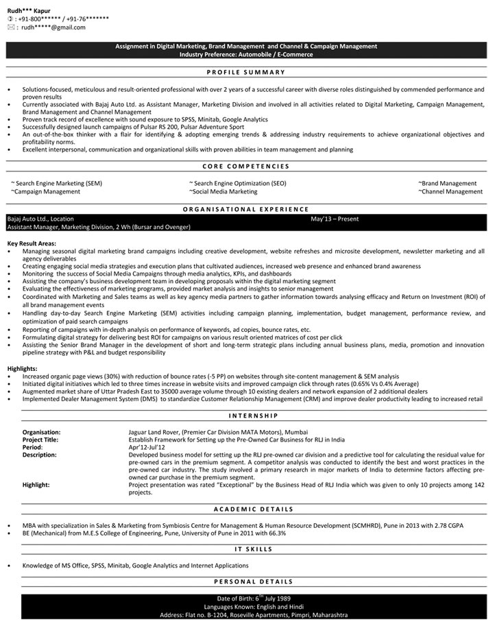 Digital Marketing Resume Samples | Sample Resume for Digital