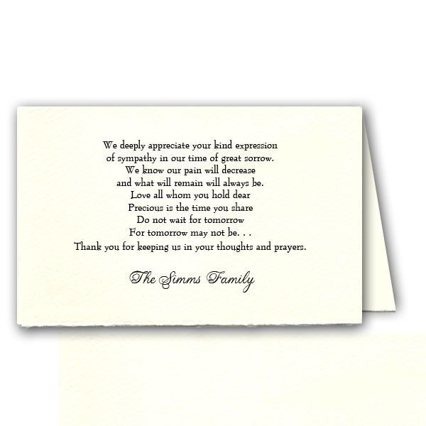 Sympathy Acknowledgement wording | PaperStyle