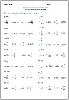 FDP Conversions (B) Maths Worksheets | Sixth Grade Math | Pinterest