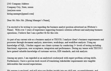 business analyst cover letter sample with no experience ...