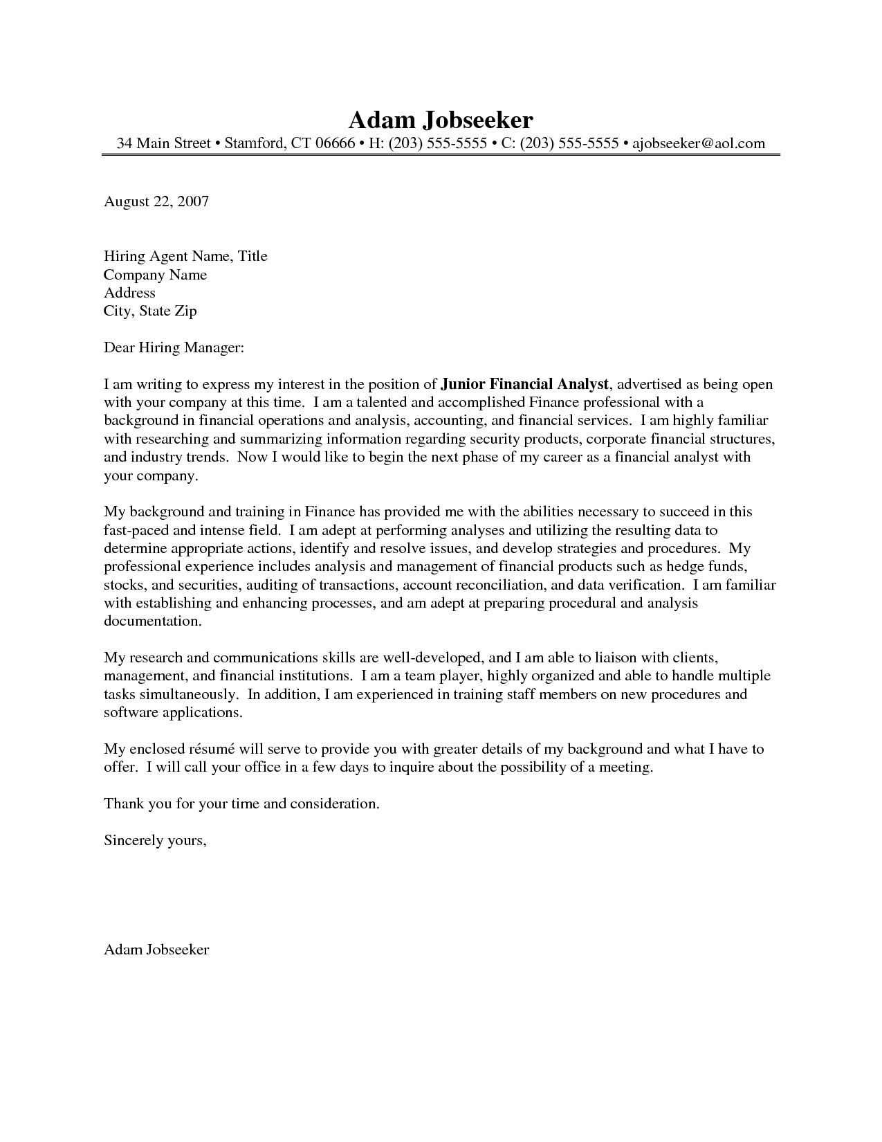 Financial Analyst Cover Letter Sample | mobile discoveries