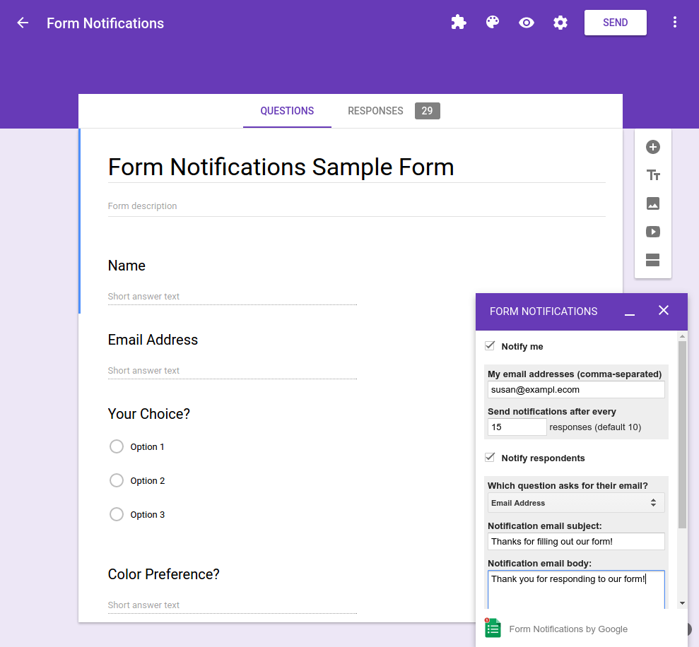 Quickstart: Add on for Google Forms | G Suite Add ons | Google