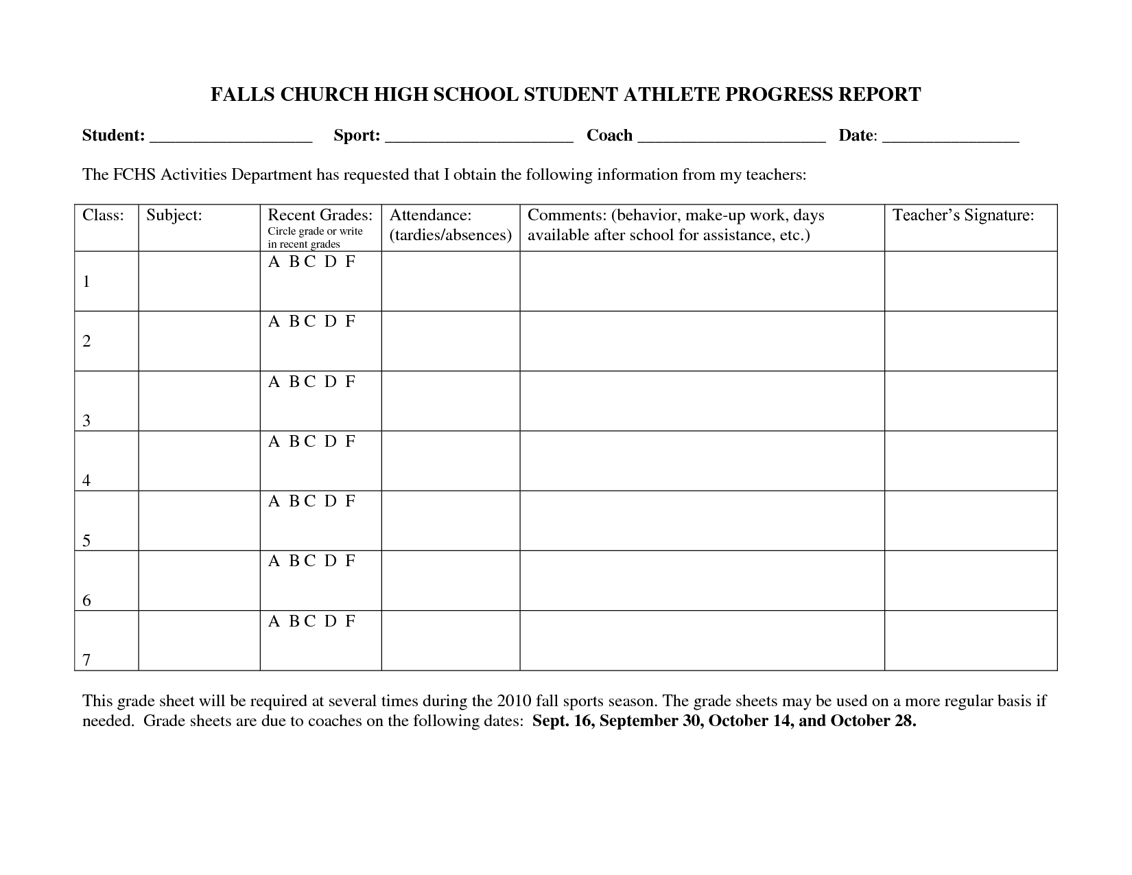 High School Progress Report Template (2) | Professional And High