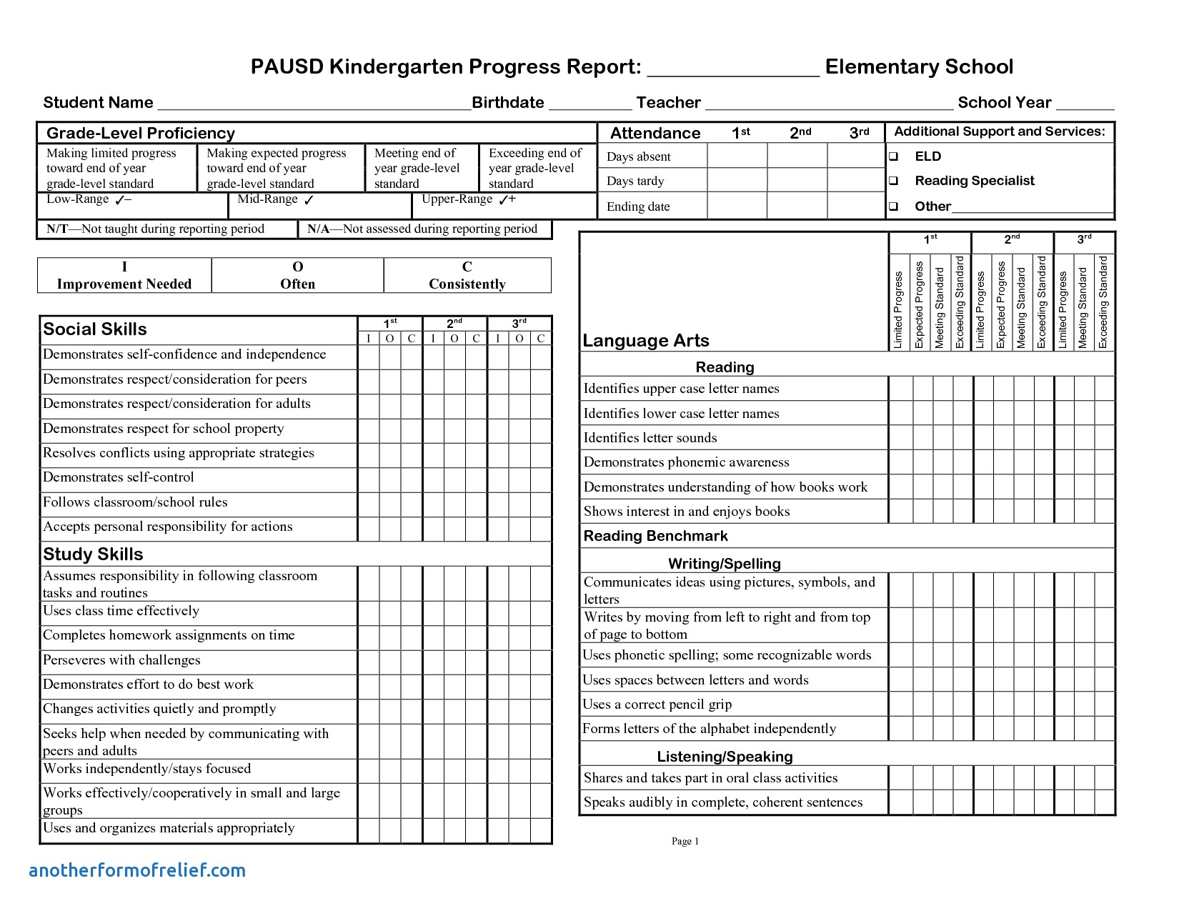 progress report template for students Kleo.beachfix.co