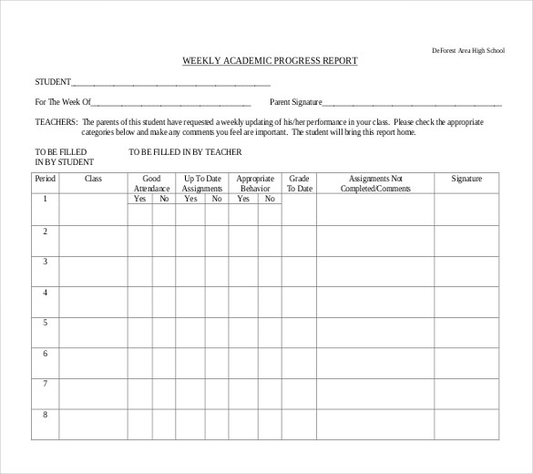 school progress report template Kleo.beachfix.co