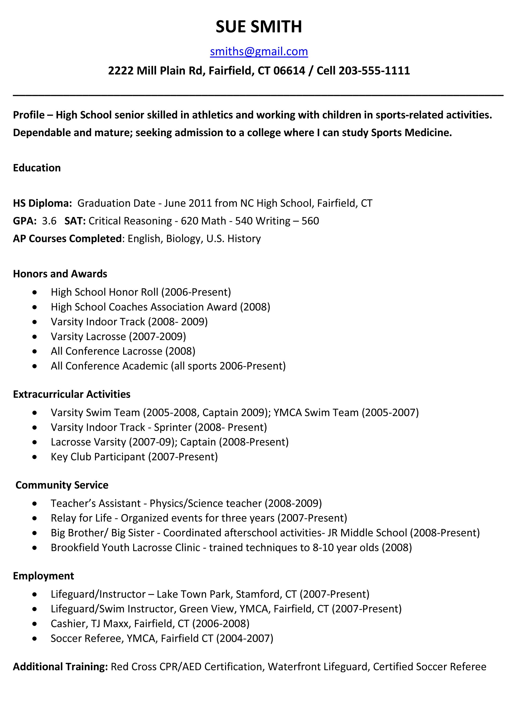 How To Write A High School Resume For College 0 Example Students