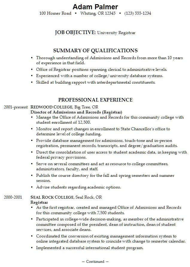 High School Senior Resume For College Application Sample Best