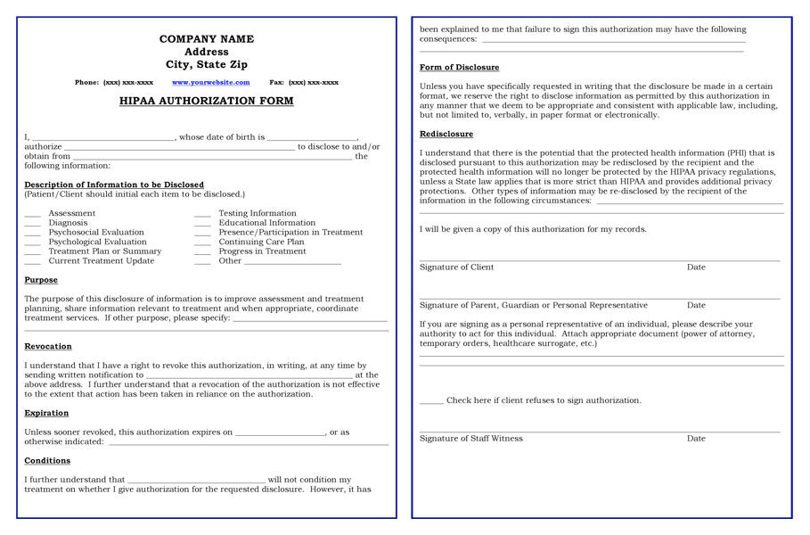 Hipaa Form Template Frsc.us