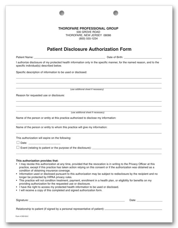 Printable HIPAA Disclosure Form