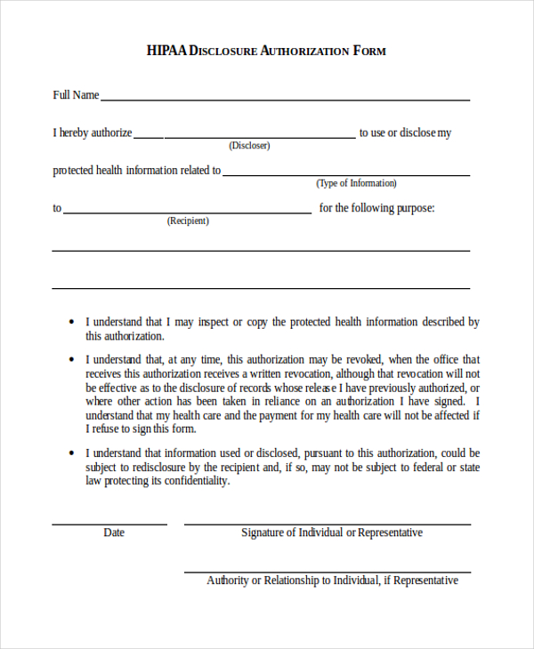 hipaa authorization form Teacheng.us