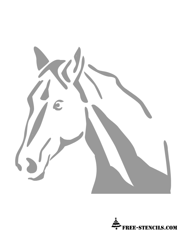 Horse head pattern. Use the printable outline for crafts, creating