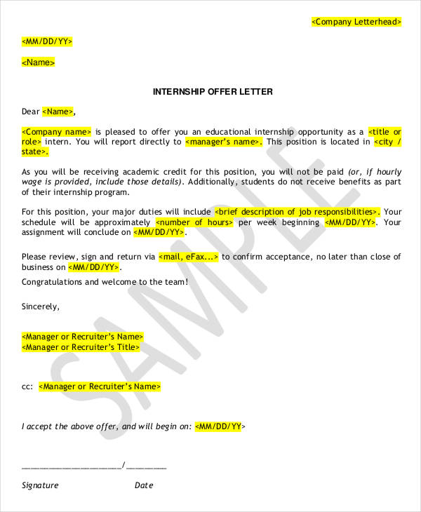7+ Internship Appointment Letter Templates Free Sample, Example