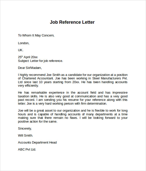 8 Job Reference Letters – Samples, Examples & Formats | Sample