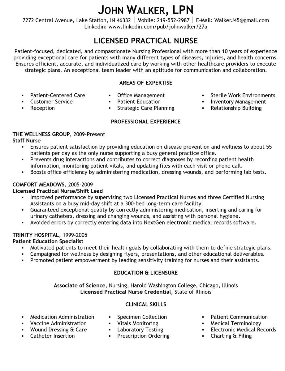 How to write a quality licensed practical nurse (LPN) resume