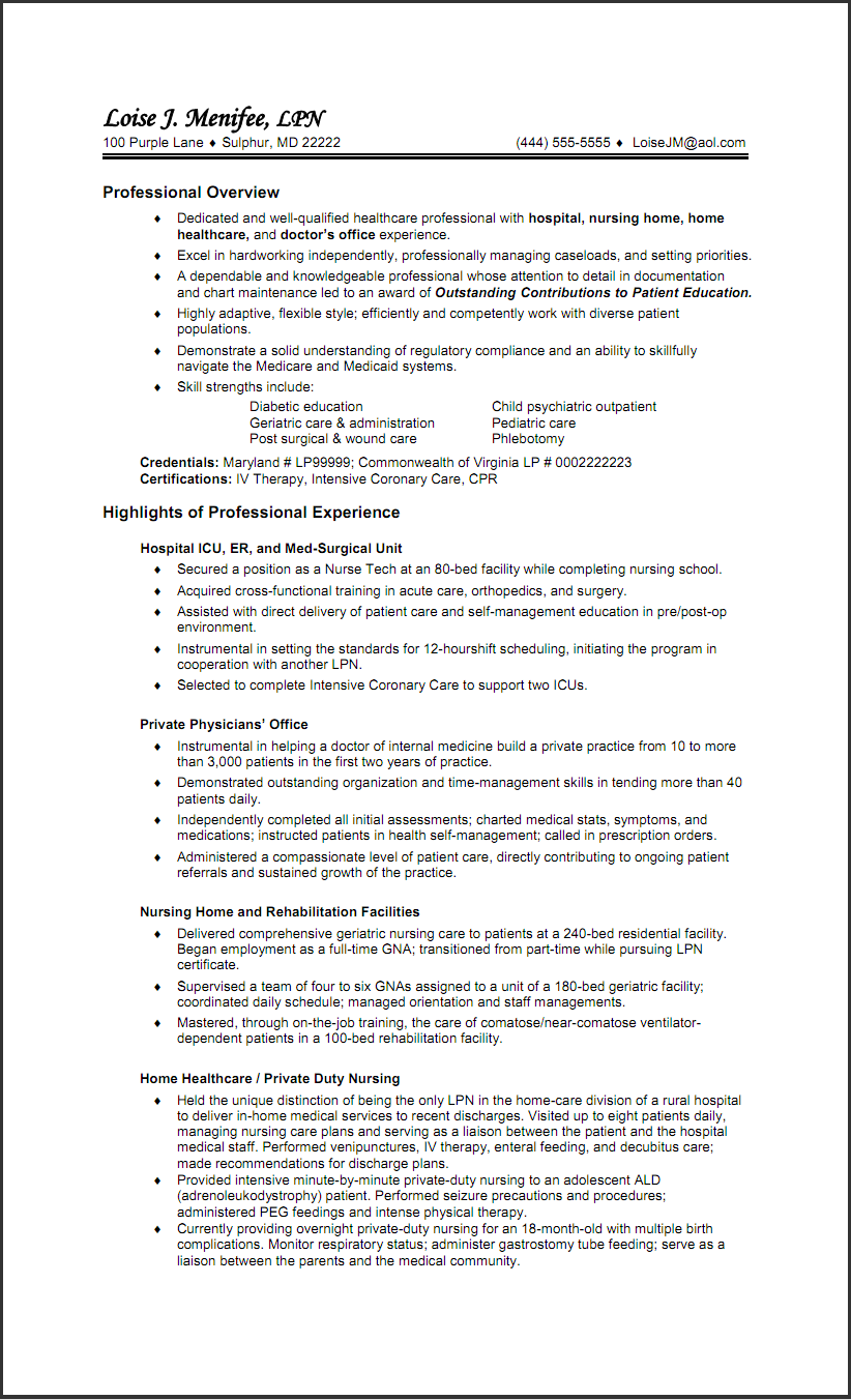 Lpn Resume Sample 5 And Get Ideas To Create Your With The Best Way