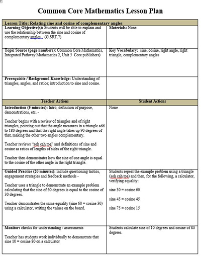 Common Core Math Lesson Plan Template, FREE