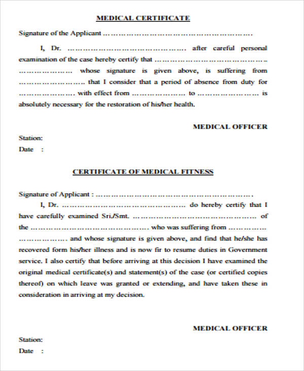 sample medical certificate for leave Kleo.beachfix.co