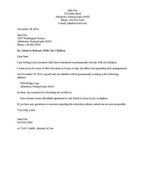 Divorce Source Letter to Non Custodial Parent of Intent to