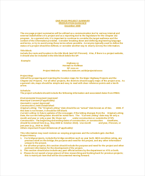 7+ Project Summary Templates Free Word, PDF Document Download