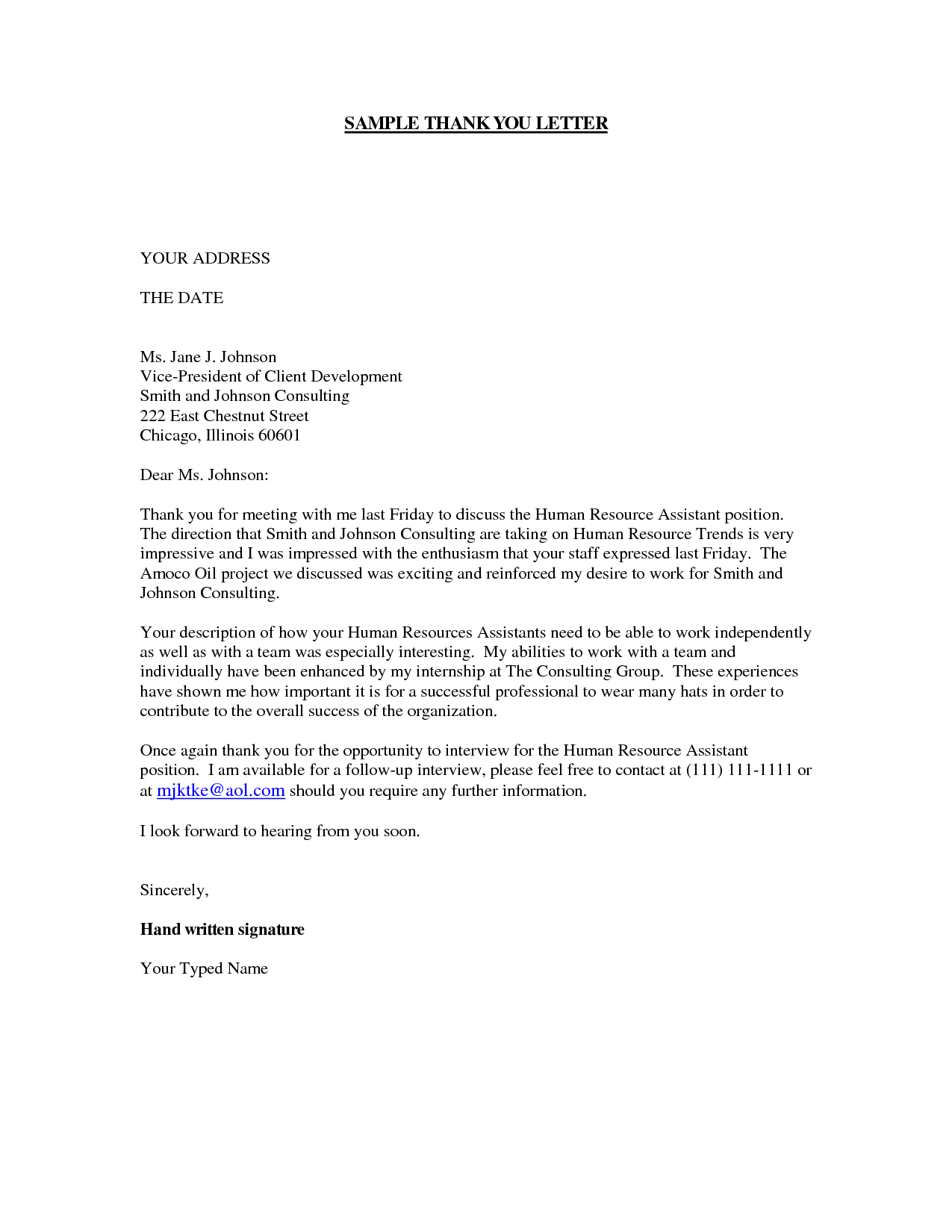 Personal Thank You Letter | Crna Cover Letter