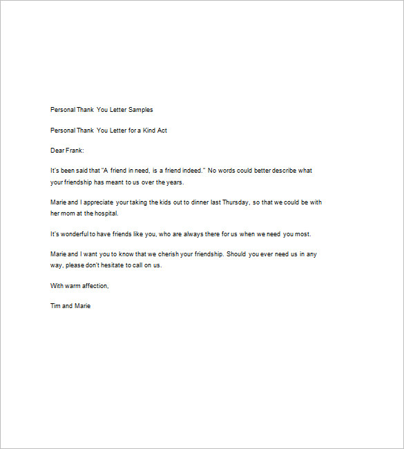 personal thank you letter template Kleo.beachfix.co