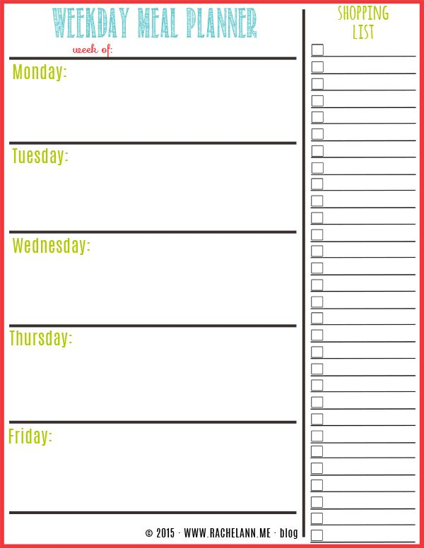 Free Weekly Meal Planner Template Printable Weekly Meal Planner