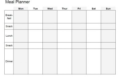 meal planner template word