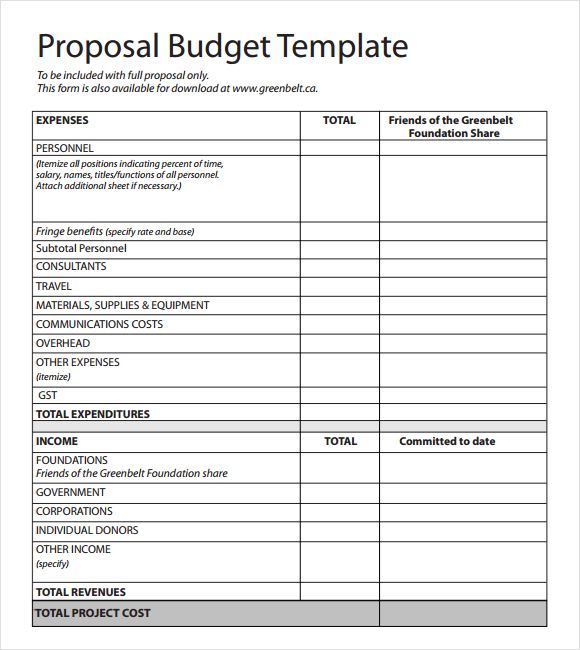 template for budget proposal budget proposal format sample budget