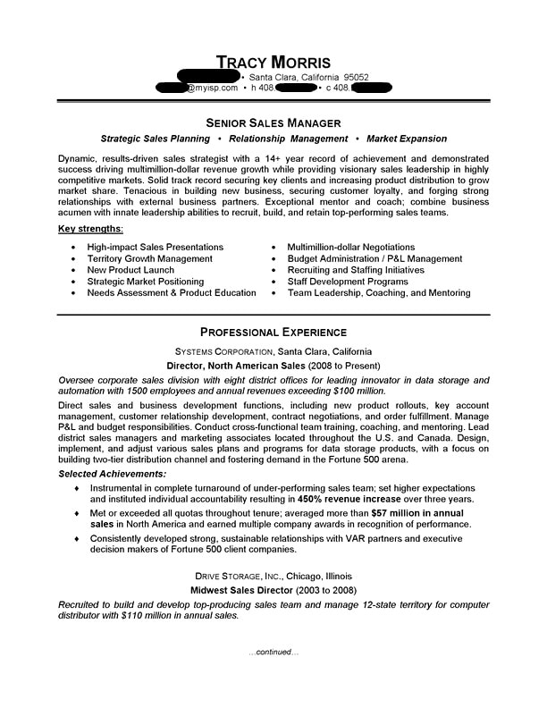 Sales Manager Resume Sample | Professional Resume Examples | TopResume