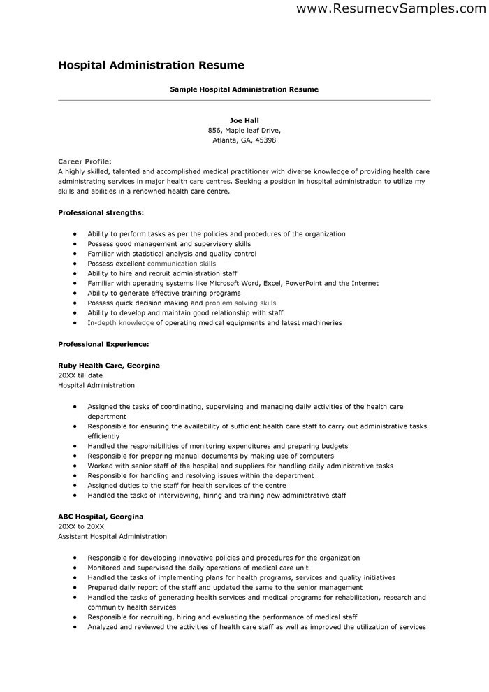 Resume For Hospital Job 2 Blog techtrontechnologies.com