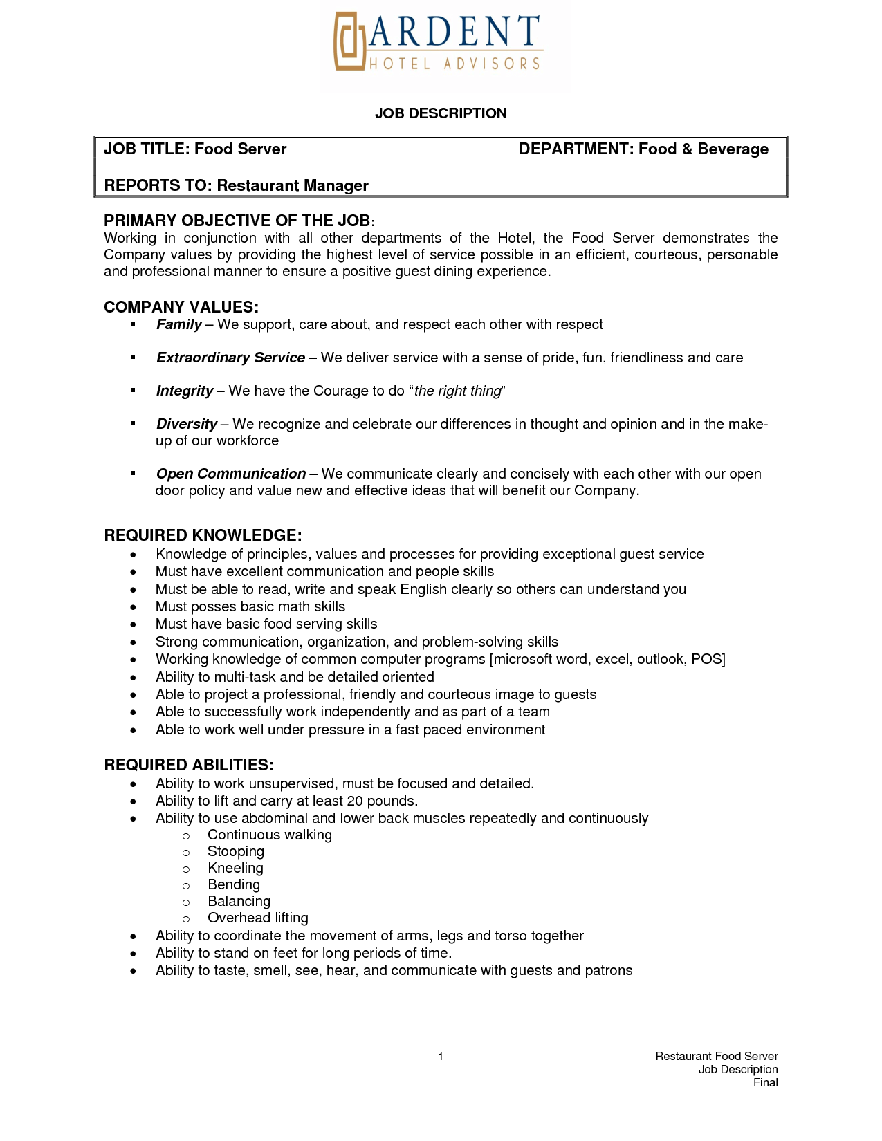 Resume Job Descriptions pusatkroto.Com