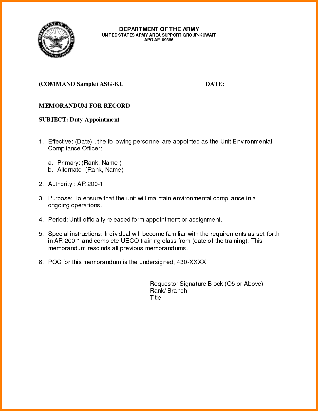 Sample Army Memo Template 8 Free PDF Documents Download | Free