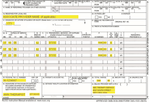 IDHS: Attachement B: CMS 1500 Form Example