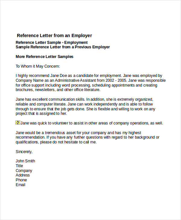 templates for reference letters for employment Kleo.beachfix.co