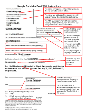 Sample Quit Claim Deed Filled Out Mobile Discoveries