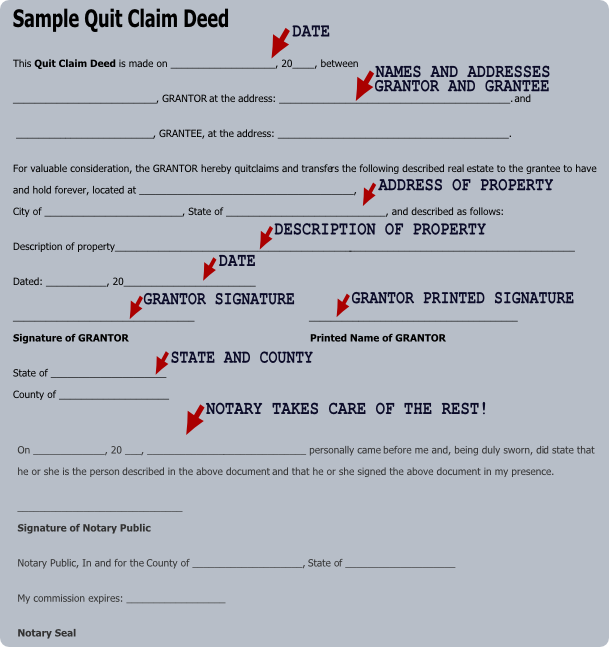Sample Of Filled Out Quit Claim Deed Fill Online, Printable