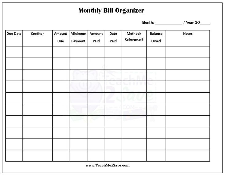 monthly bills template free Kleo.beachfix.co