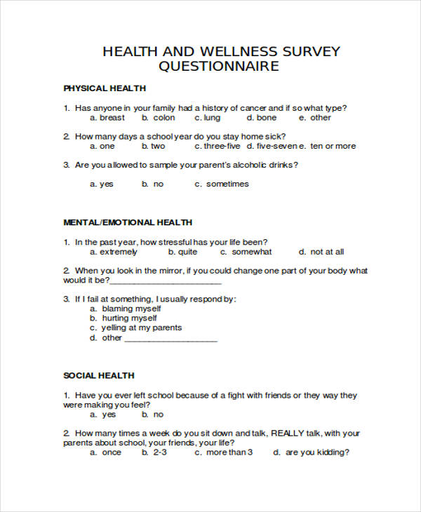 questionnaires examples April.onthemarch.co