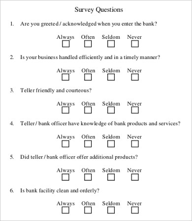 9+ Sample Survey Questionnaires Free Sample, Example Format
