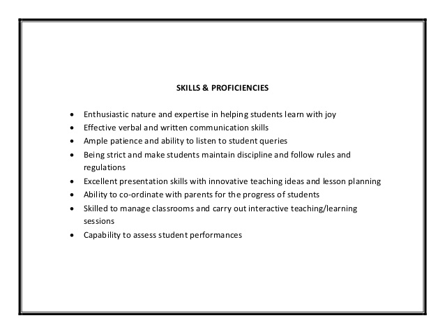 Teacher Resume Skills And Abilities Mobile Discoveries