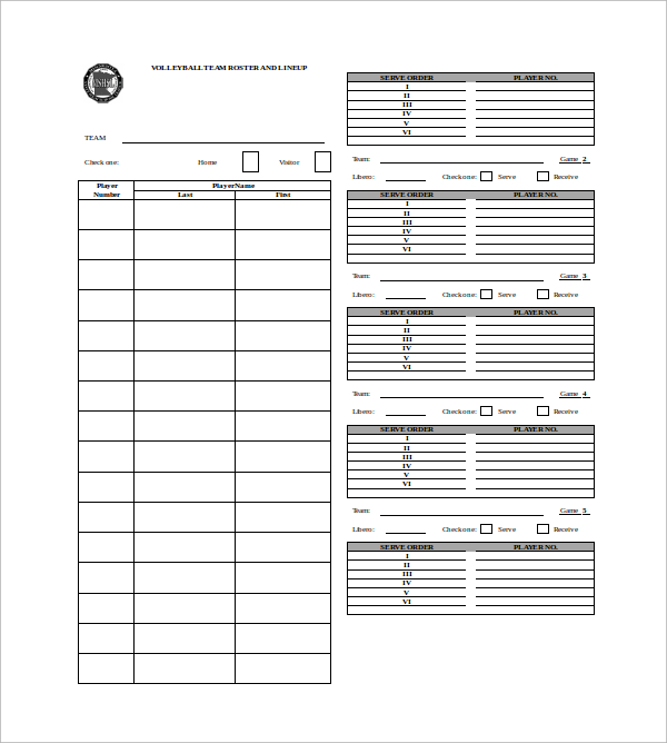 7+ Volleyball Roster Templates | Sample Templates