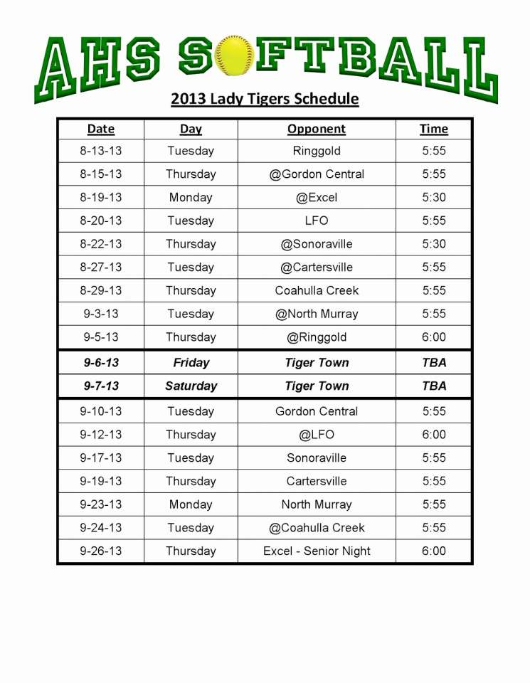 softball schedule template Kleo.beachfix.co