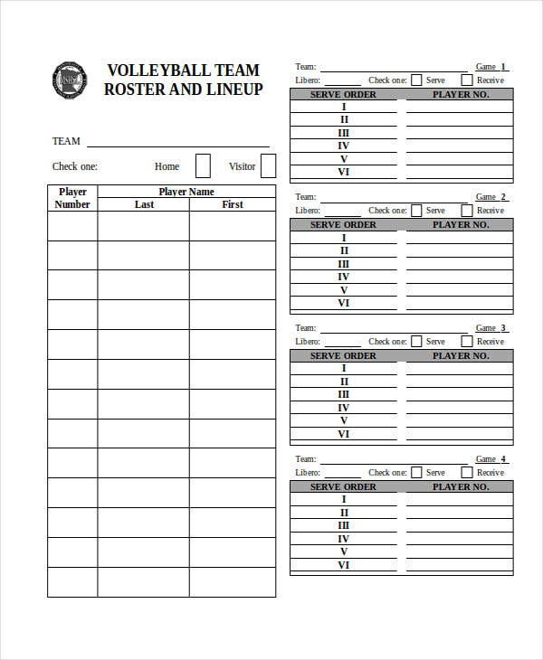 graphic about Volleyball Lineup Sheet Printable referred to as Volleyball Roster Template cell discoveries