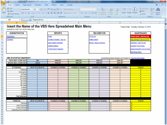 Free VBS Spreadsheet Template Vacation Bible School Spreadsheet